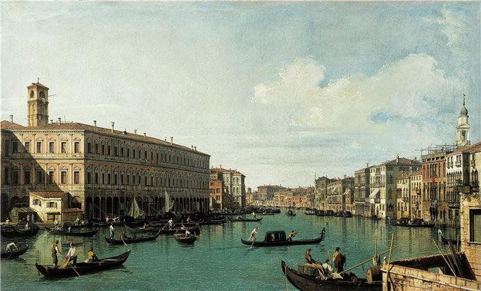 卡纳莱托 (Canaletto,意大利画家)作品-从里亚尔托桥(1725年)看大运河