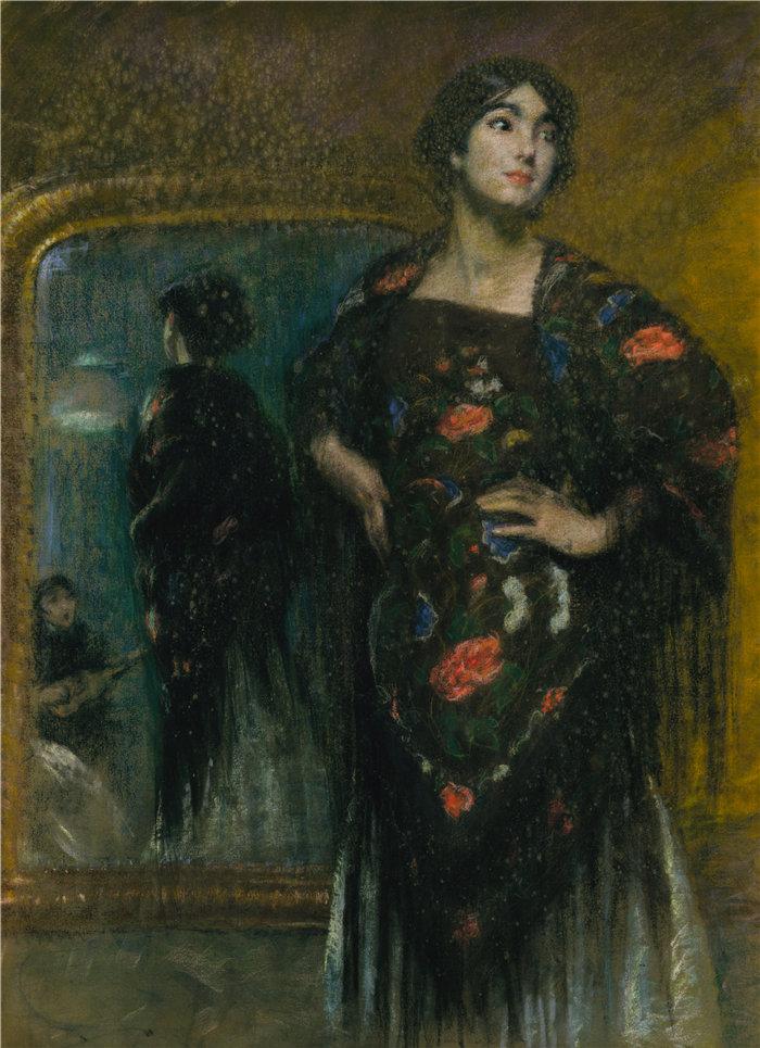 爱丽丝·派克·巴尼 (Alice Pike Barney,美国画家)作品-西班牙披肩(约 1908 年)