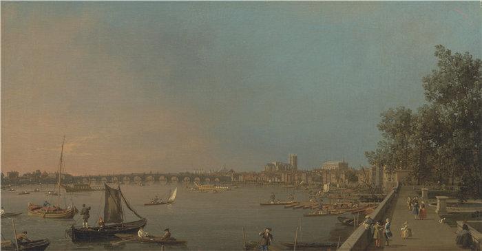 卡纳莱托 (Canaletto,意大利画家)作品-从萨默塞特宫的露台看泰晤士河,望向威斯敏斯特