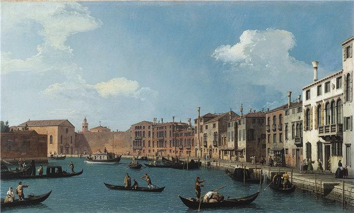 卡纳莱托 (Canaletto,意大利画家)作品-威尼斯圣基亚拉运河 (1730)