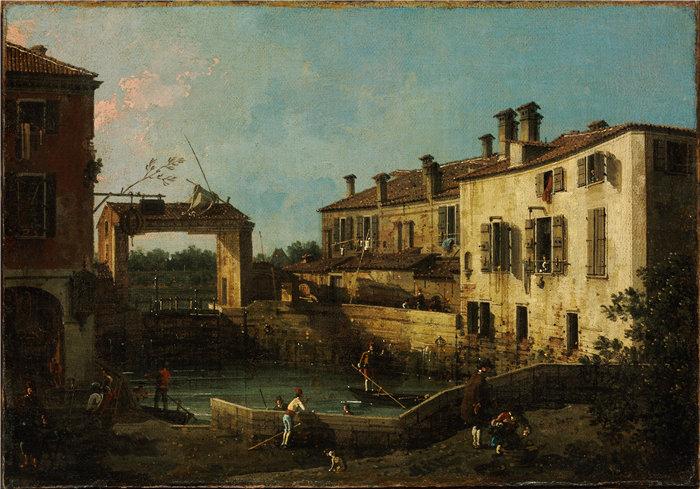 卡纳莱托 (Canaletto,意大利画家)作品-多洛附近的锁