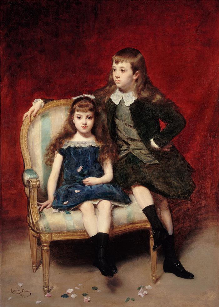 卡洛鲁斯·杜兰(Carolus-Duran,法国画家)作品-玛格丽特肖像(1883-1973)和罗伯特(1880-1956)德布罗意(1890)