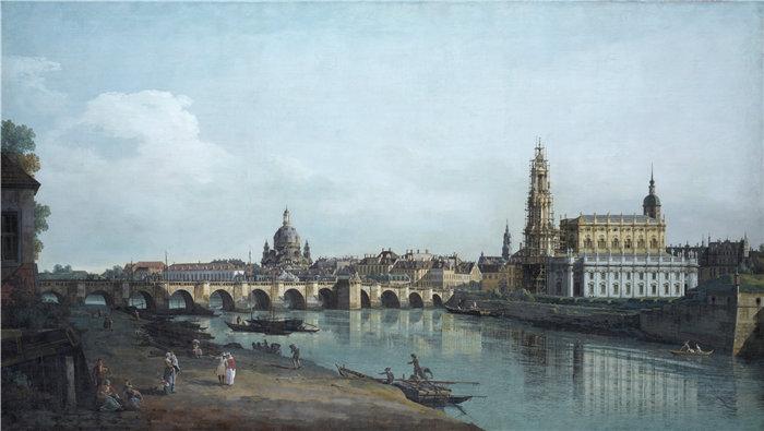 卡纳莱托 (Canaletto,意大利画家)作品-从易北河右岸看到的德累斯顿,位于奥古斯桥下方