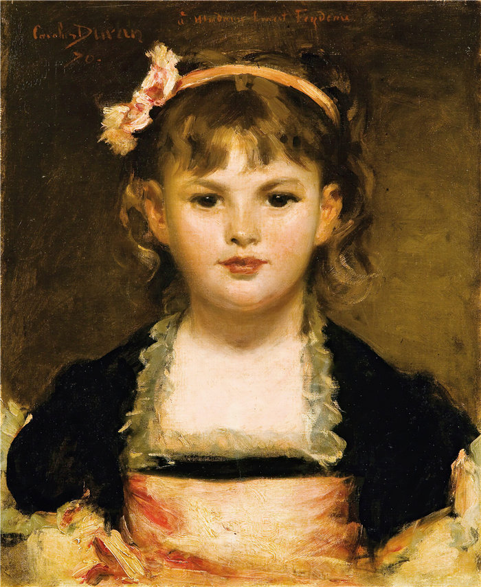 卡洛鲁斯·杜兰(Carolus-Duran,法国画家)作品-一个年轻女孩的肖像(1870)
