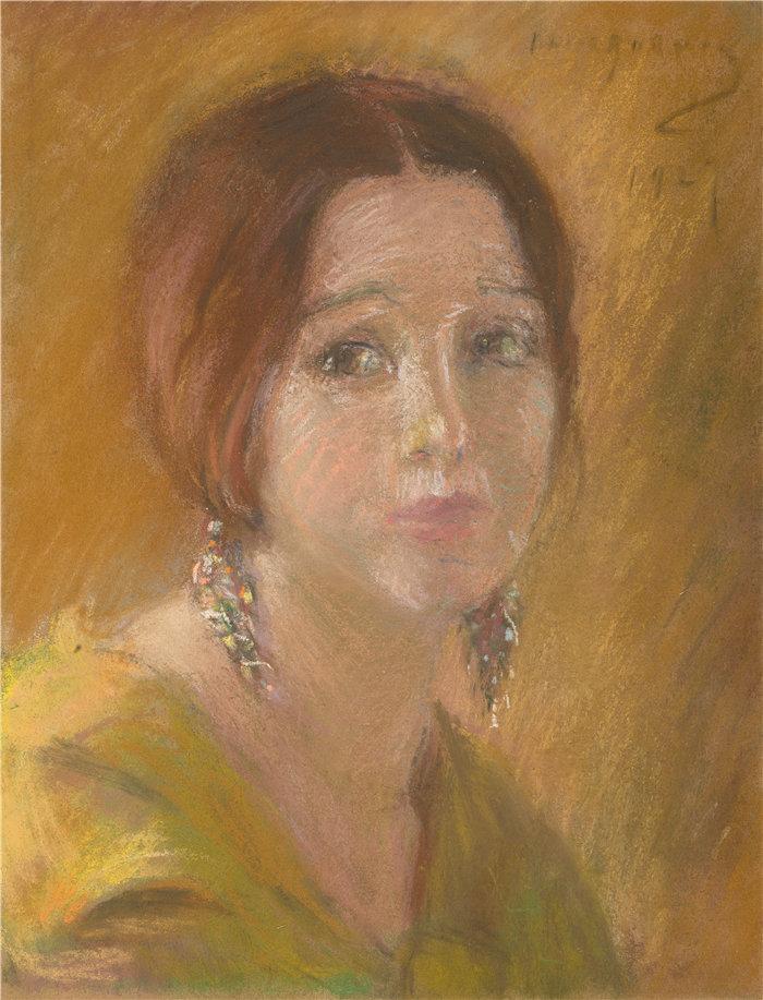 爱丽丝·派克·巴尼 (Alice Pike Barney,美国画家)作品-一个女人的研究负责人(1927)