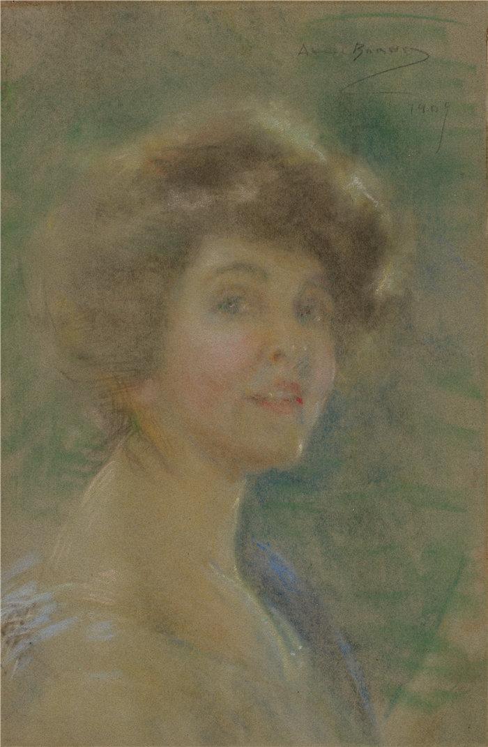 爱丽丝·派克·巴尼 (Alice Pike Barney,美国画家)作品-自画像(1909)
