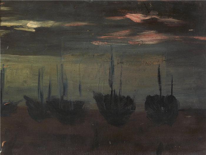 爱丽丝·派克·巴尼 (Alice Pike Barney,美国画家)作品-月光下的船