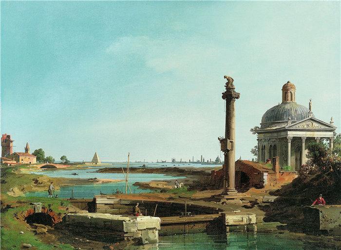 卡纳莱托 (Canaletto,意大利画家)作品-泻湖旁的锁、柱和教堂