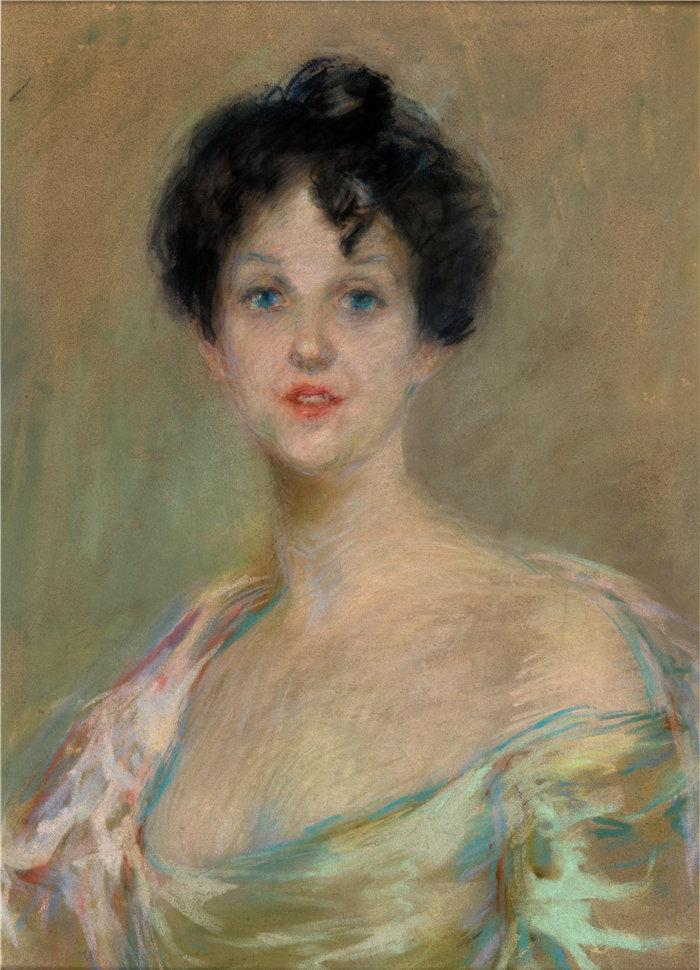 爱丽丝·派克·巴尼 (Alice Pike Barney,美国画家)作品-三色堇棉花夫人 (1903)