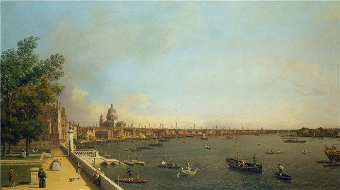 卡纳莱托 (Canaletto,意大利画家)作品-伦敦 - 从萨默塞特宫露台到城市的泰晤士河