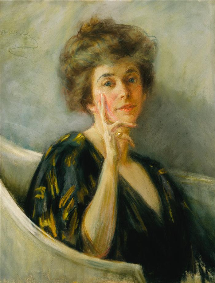 爱丽丝·派克·巴尼 (Alice Pike Barney,美国画家)作品-休息中的自画像(约 1895 年)
