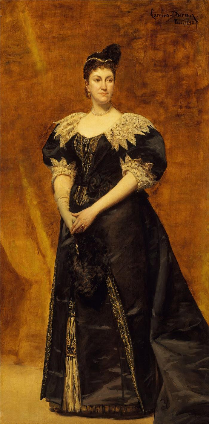 卡洛鲁斯·杜兰(Carolus-Duran,法国画家)作品-威廉·阿斯特夫人 (Caroline Webster Schermerhorn, 1831–1908) (1890)