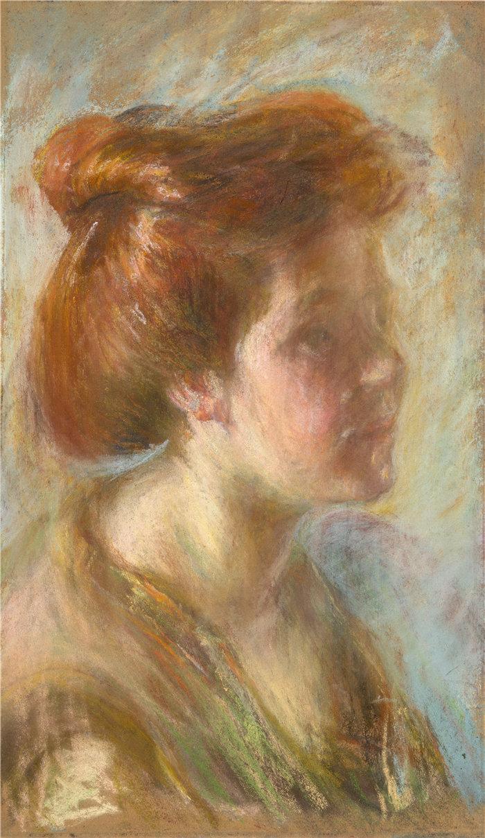 爱丽丝·派克·巴尼 (Alice Pike Barney,美国画家)作品-提香头发的女孩