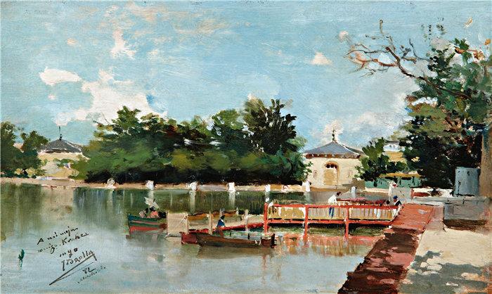 华金·索罗拉(Joaquin Sorolla,西班牙画家)作品-马德里丽池花园的码头景观(1882 年)