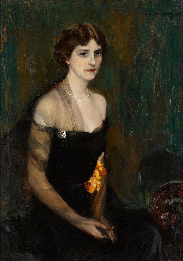 华金·索罗拉(Joaquin Sorolla,西班牙画家)作品-Orville E. Babcock 夫人的肖像 (1911)