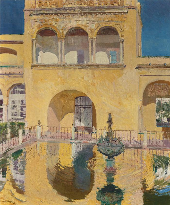 华金·索罗拉(Joaquin Sorolla,西班牙画家)作品-查尔斯五世宫殿,塞维利亚阿尔卡扎尔(1908年)