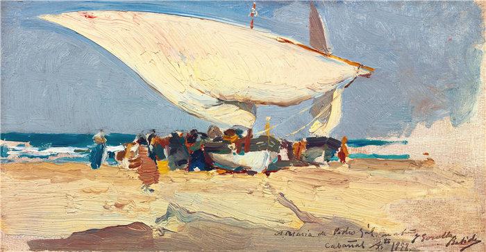 华金·索罗拉(Joaquin Sorolla,西班牙画家)作品-渔获归来。瓦伦西亚海滩 (1898)