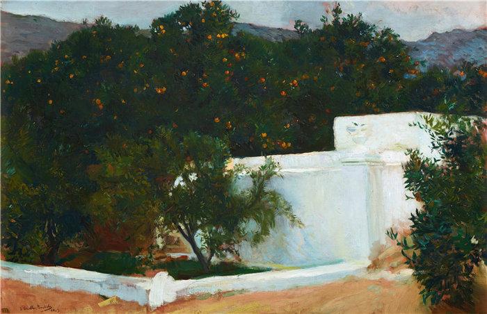 华金·索罗拉(Joaquin Sorolla,西班牙画家)作品-通往海边的橙树,瓦伦西亚(1903 年)