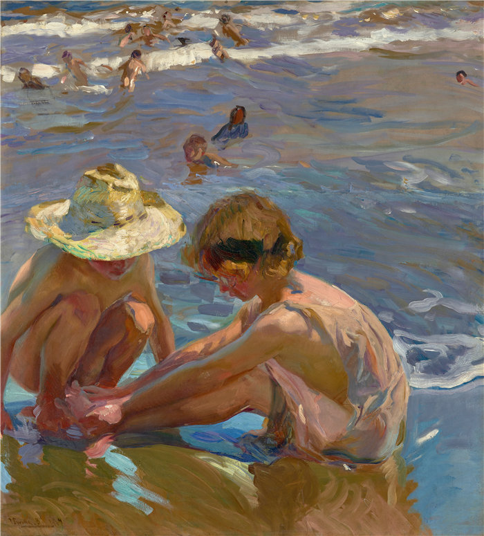 华金·索罗拉(Joaquin Sorolla,西班牙画家)作品-受伤的脚 (1909)