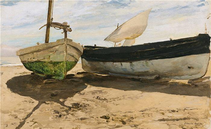 华金·索罗拉(Joaquin Sorolla,西班牙画家)作品-瓦伦西亚海滩上的渔船