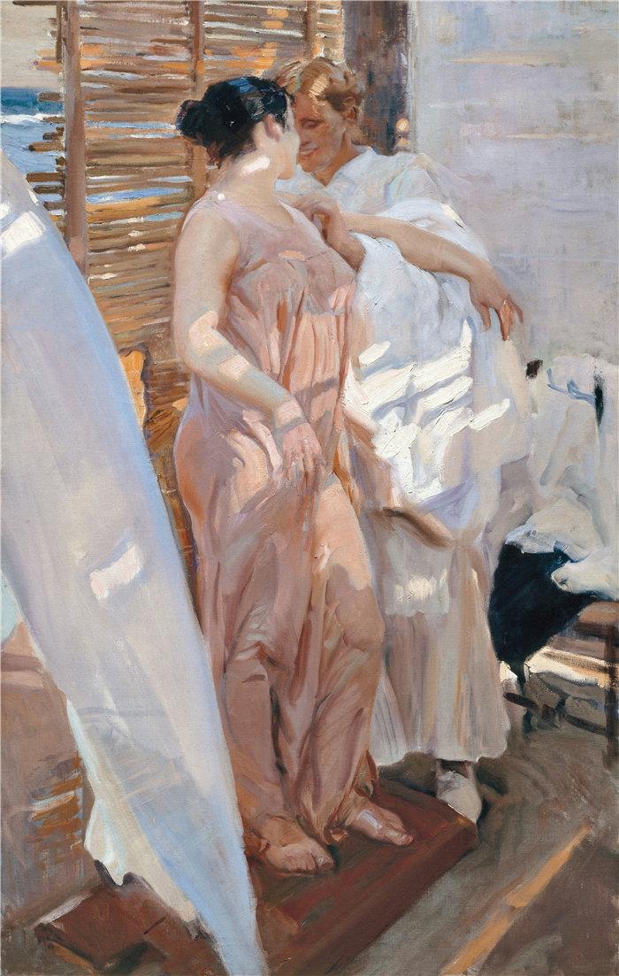 华金·索罗拉(Joaquin Sorolla,西班牙画家)作品-粉红长袍 (1916)