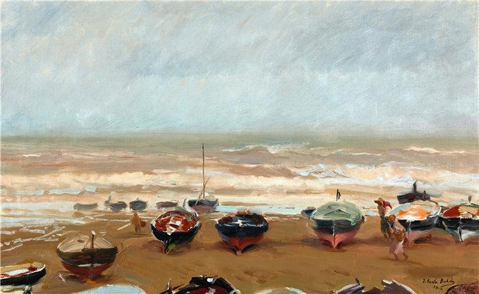 华金·索罗拉(Joaquin Sorolla,西班牙画家)作品-暴风雨的下午(1904)