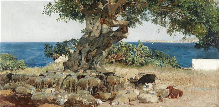 华金·索罗拉(Joaquin Sorolla,西班牙画家)作品-阿尔加罗博(角豆树)(1899)