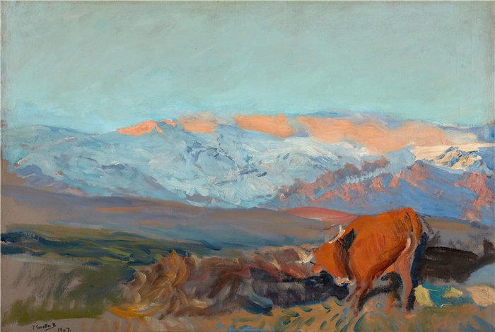 华金·索罗拉(Joaquin Sorolla,西班牙画家)作品-拉斯索雷拉斯。瓜达拉马山脉 (1907)