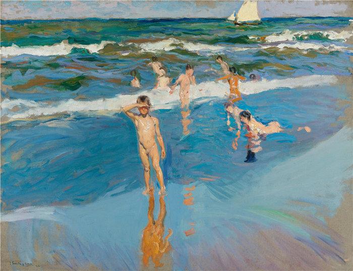 华金·索罗拉(Joaquin Sorolla,西班牙画家)作品-海中的孩子,瓦伦西亚海滩(1908 年)