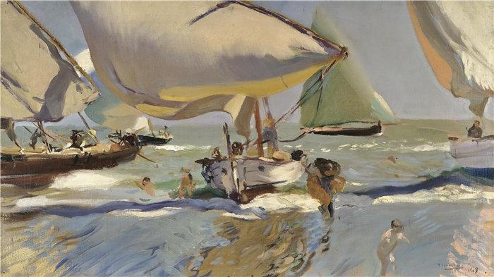 华金·索罗拉(Joaquin Sorolla,西班牙画家)作品-岸上的船 (1909)