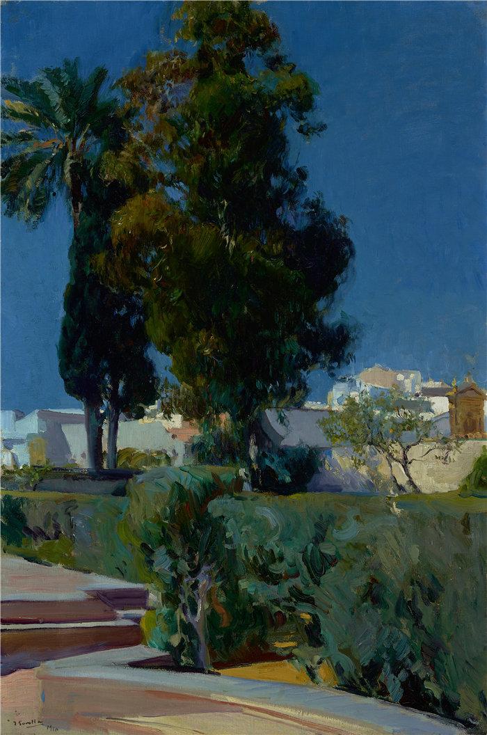华金·索罗拉(Joaquin Sorolla,西班牙画家)作品-塞维利亚城堡花园的角落(1910 年)
