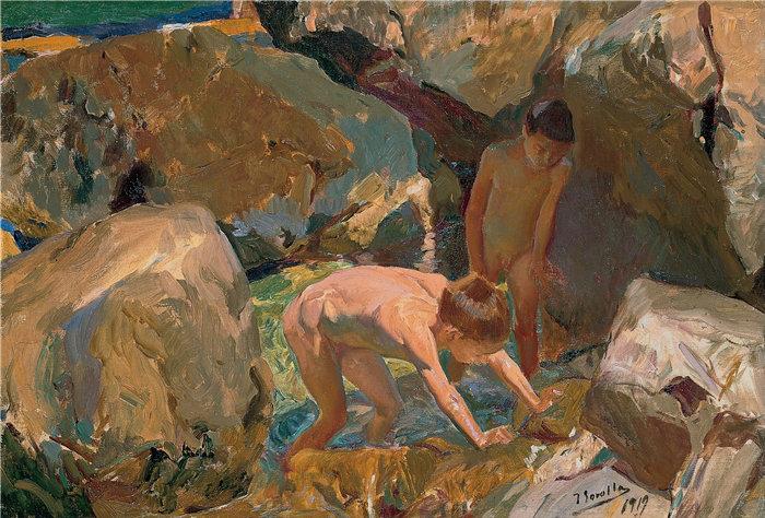 华金·索罗拉(Joaquin Sorolla,西班牙画家)作品-寻找贝类的儿童
