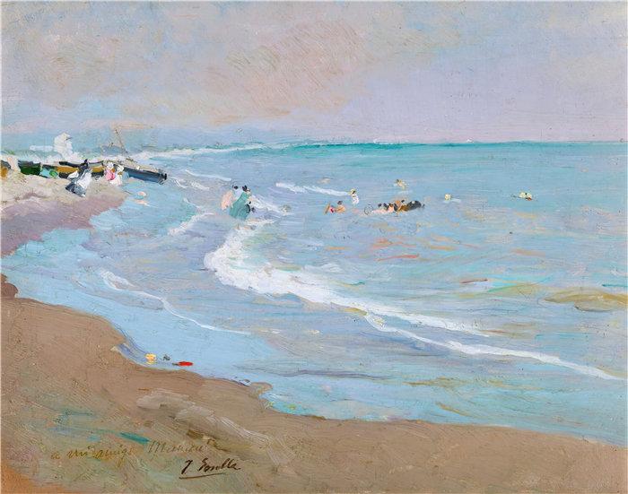 华金·索罗拉(Joaquin Sorolla,西班牙画家)作品-瓦伦西亚海滩