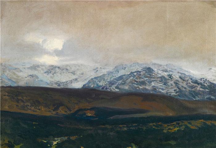 华金·索罗拉(Joaquin Sorolla,西班牙画家)作品-瓜达拉马山脉 (1907)