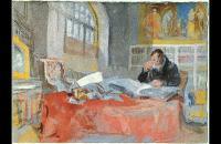 约瑟夫·马洛德·威廉·特纳(Joseph Mallord William Turner)-1827年坐在旧图书馆餐桌旁的男人水彩