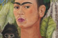 弗里达·卡罗(Frida Kahlo)-与猴子的自画像,1938 年油画 墨西哥