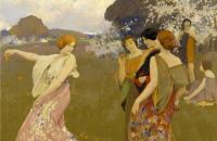 亚瑟·马修斯(Arthur F. Mathews)-《春舞》 1917年油画